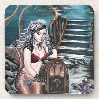 steampunk vintage mermaid where you left me coaster