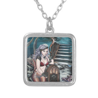 steampunk vintage mermaid where you left me silver plated necklace