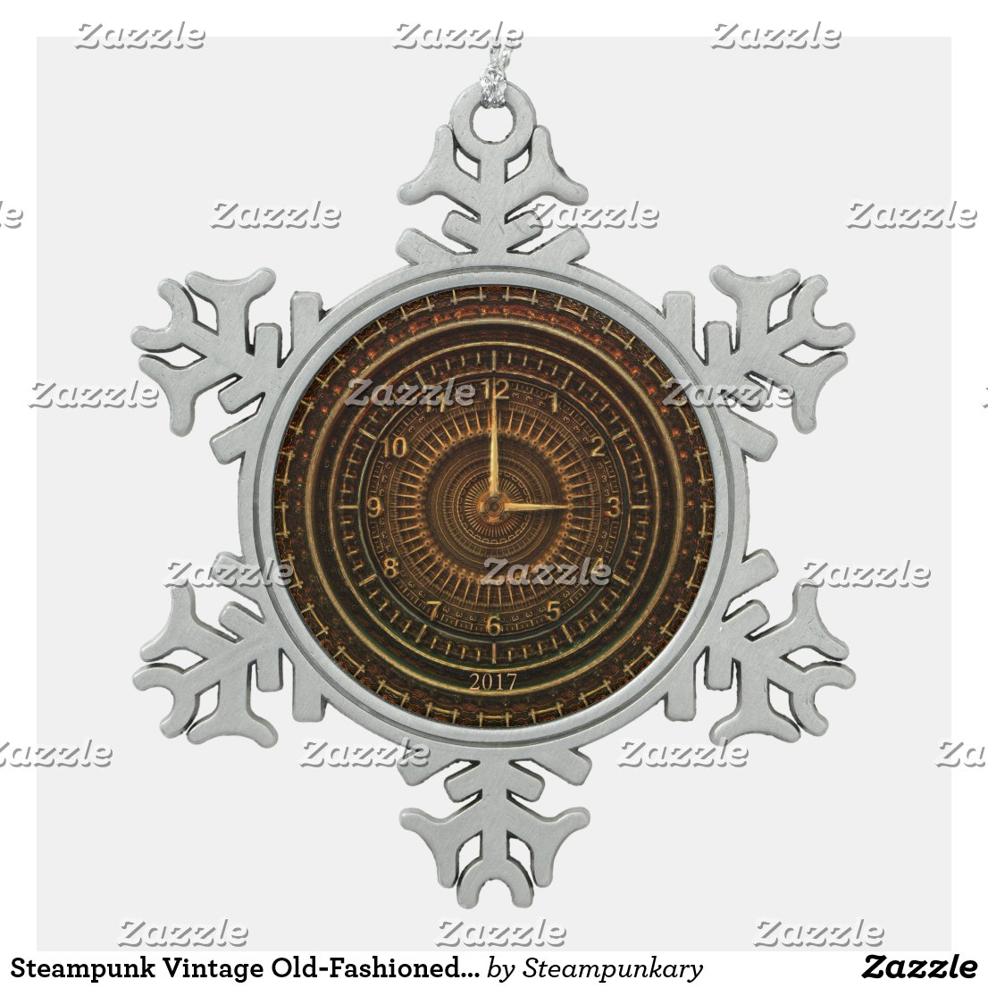Steampunk Vintage Old-Fashioned Copper Clockwork Snowflake Pewter Christmas Ornament