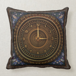 Steampunk Vintage Old-Fashioned Copper Clockwork Throw Pillow