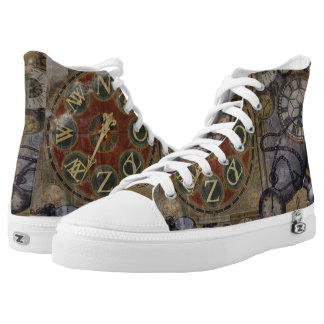 Steampunk Vintage Timepiece Illustration High-Top Sneakers