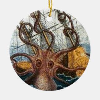 Steampunk Vintage Victorian Giant Kraken Octopus Ceramic Ornament
