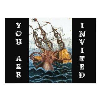 Steampunk Vintage Victorian Giant Kraken Octopus 5x7 Paper Invitation Card
