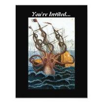 Steampunk Vintage Victorian | Kraken Giant Octopus Card