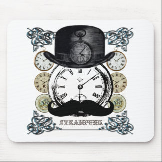 steampunk watch, bowler and moustache mouse pad