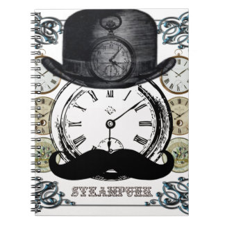 steampunk watch, bowler and moustache spiral notebook