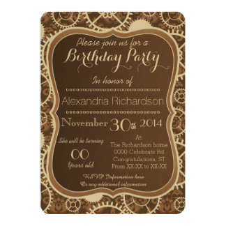 Steampunk watch gear and damask birthday party card
