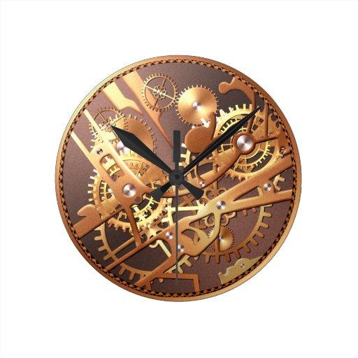 steampunk watch gears round wall clock