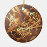steampunk watch gears Double-Sided ceramic round christmas ornament