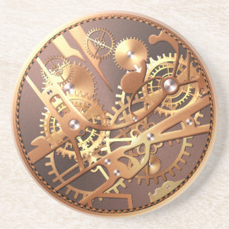 steampunk watch gears sandstone coaster
