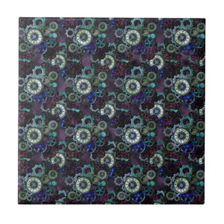steampunk watch parts - purple print by LeahG Ceramic Tiles