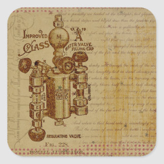 Steampunk Water Valve Blueprint Sepia Stickers