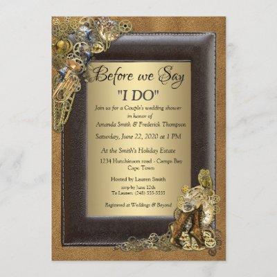 Steampunk Wedding On Suede Wedding Shower Invitation
