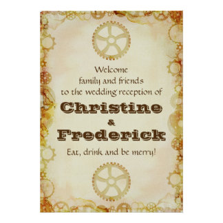 Steampunk Wedding, reception welcome poster