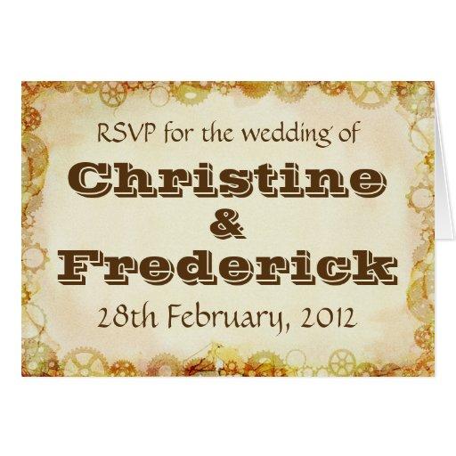 Steampunk Wedding, RSVP card Greeting Card