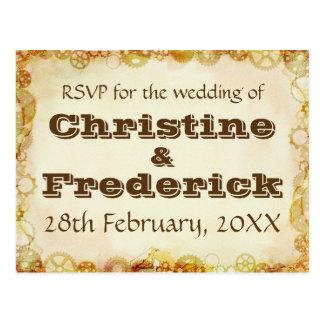 Steampunk Wedding, RSVP postcard