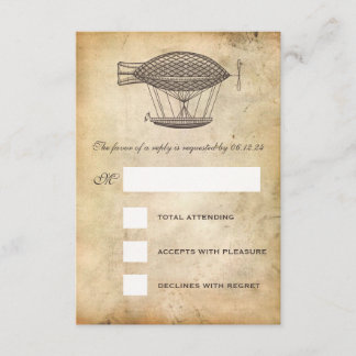 Steampunk Wedding RSVP Victorian Airship