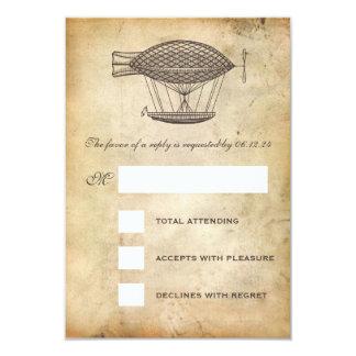 Steampunk Wedding RSVP Victorian Airship 3.5x5 Paper Invitation Card