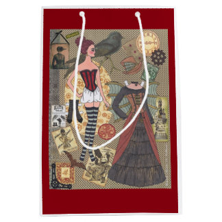 Steampunk Whimsy Paper Doll Art by Alina Kolluri Medium Gift Bag