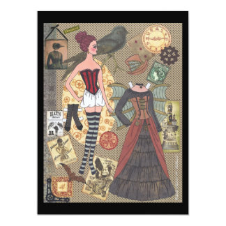 Steampunk Whimsy Paper Doll Flat Card