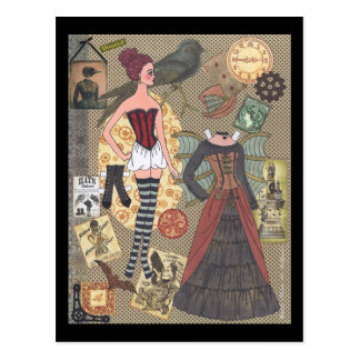 Steampunk Whimsy Paper Doll Postcard