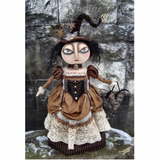 Steampunk Witch Doll Photo Sculpture Pin