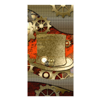 Steampunk witch hat clocks and gears photo card