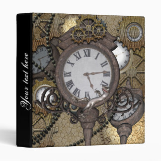Steampunk with clocks and gears, 3 ring binder