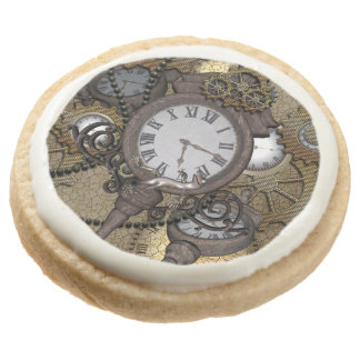 Steampunk with clocks and gears, round shortbread cookie