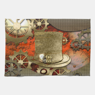 Steampunk with hat clocks and gears towel