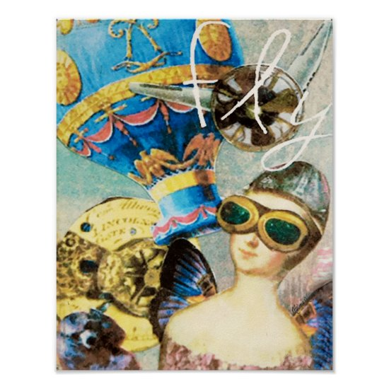 Steampunk Woman Pilot Hot Air Balloon Poodle Cute Poster