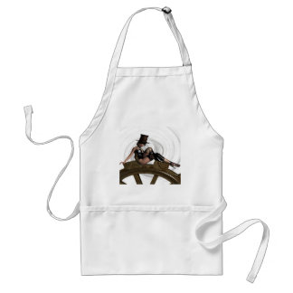 STEAMPUNK WOMAN SITS ON GEAR APRONS