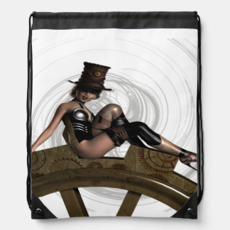 STEAMPUNK WOMAN SITS ON GEAR BACKPACK