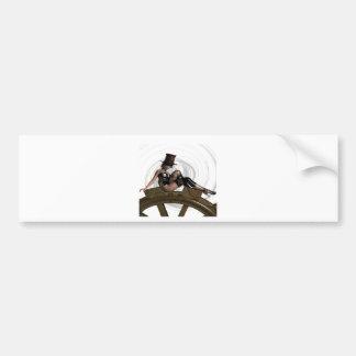 STEAMPUNK WOMAN SITS ON GEAR BUMPER STICKER