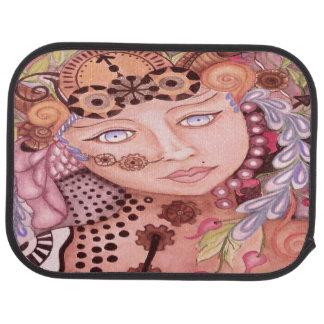 Steampunk woman themed watercolor art car mat