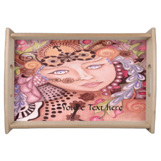 Steampunk woman themed watercolor art serving tray