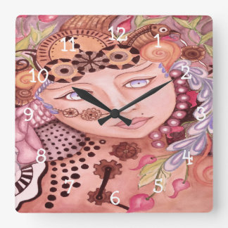 Steampunk woman themed watercolor art square wall clock