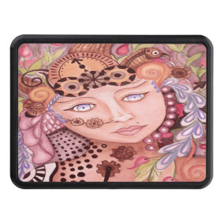 Steampunk woman themed watercolor art trailer hitch cover