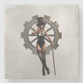 STEAMPUNK WOMAN WITH GEAR AND STEAM COASTER