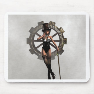 STEAMPUNK WOMAN WITH GEAR AND STEAM MOUSE PAD