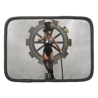 STEAMPUNK WOMAN WITH GEAR AND STEAM PLANNERS