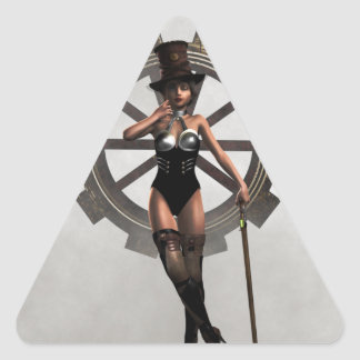 STEAMPUNK WOMAN WITH GEAR AND STEAM TRIANGLE STICKER