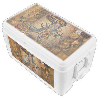 Steampunk women with steampunk owl chest cooler