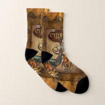 Steampunk women with steampunk owl socks