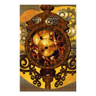 Steampunk, wonderful clock with gears stationery