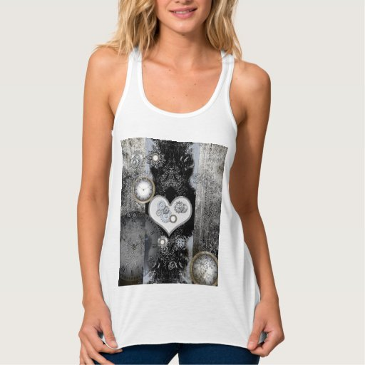 Steampunk, wonderful heart flowy racerback tank top Tank Tops, Tanktops Shirts