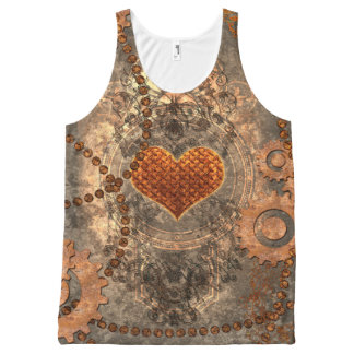 Steampunk, wonderful heart made of rusty metal All-Over print tank top