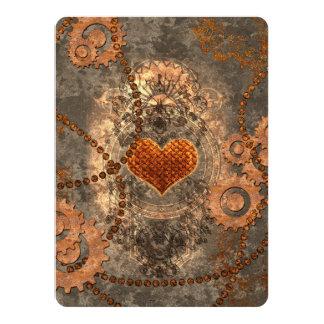 Steampunk, wonderful heart made of rusty metal card