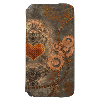 Steampunk, wonderful heart made of rusty metal iPhone 6/6s wallet case