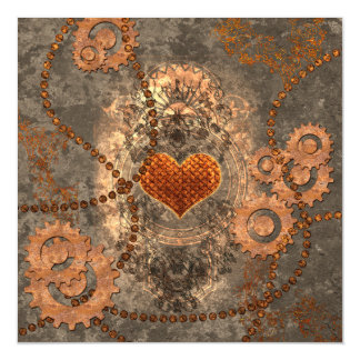Steampunk, wonderful heart made of rusty metal magnetic card